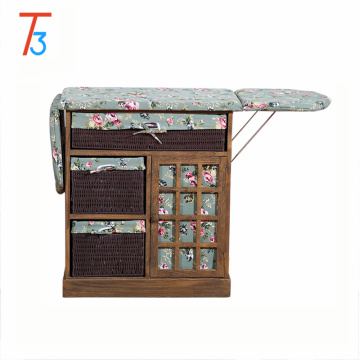 folding ironing board wood cabinet with storage basket drawer
