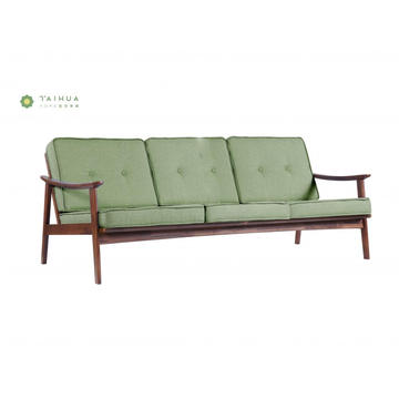 Light Green Sofa 3 Seater Solid Wood Frame