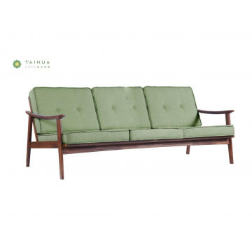 Banayad na Green Sofa 3 Seater Solid Wood Frame