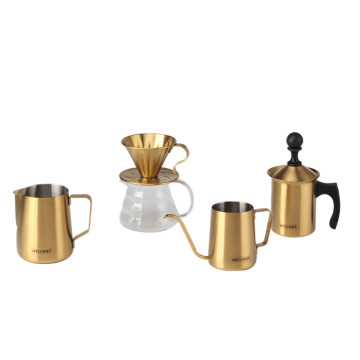Gold Coffeeware Tools Set for Expresso Coffee