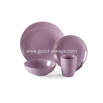 16 Piece Stoneware Dinner Set Purple Color