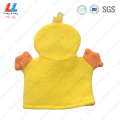 Yellow duck children bath gloves sponge