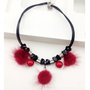 Crystal Bead Fur Balls 90s Neck Choker Everyday Necklace
