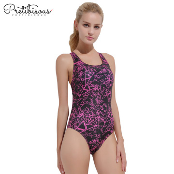 Printed swimwear womens high waisted one piece swimsuit