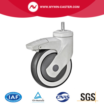 Threaded Stem Braked TPR Medical Caster