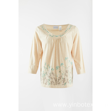 Cotton 3/4 sleeve with embroidery T shirt