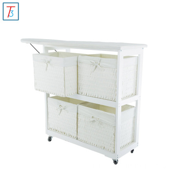 Collapsible wooden Ironing Board and Shelving Unit with Hamper