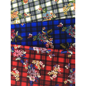 Check Flower Rayon Poplin 45S Light Printing Fabric