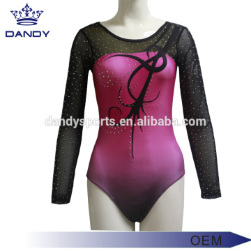 ʻO Pink Ombre Music Gymnastics Competition Leotards