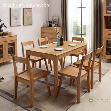 Banayad na Goma Solid Wood Rectangular Table 6 Upuan
