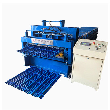 Glazed tile roll forming machine with hydraulic cutting