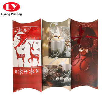 Custom Printing Christmas Red Paper Pillow Box Packaging