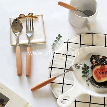 Wooden Handle Stainless Steel Dinnerware Set