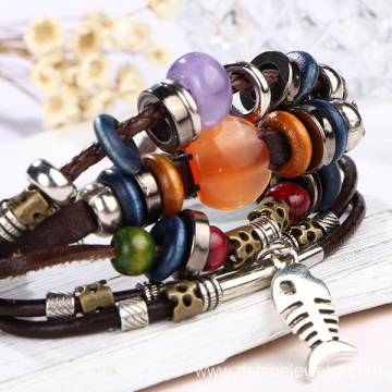 Retro Genuine Leather Bracelet Weaved Beads Handmade Bangle