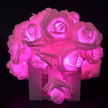 LED Pink Large Rose Flower String Lights