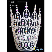 China Exporter for Beauty Pageant Crowns and Tiaras Rhinestone Pageant Crowns Big Size T-120 export to Zambia Factory