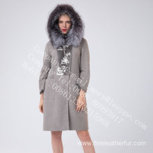 Winter Hooded Spain Merino Shearling Coat For Women