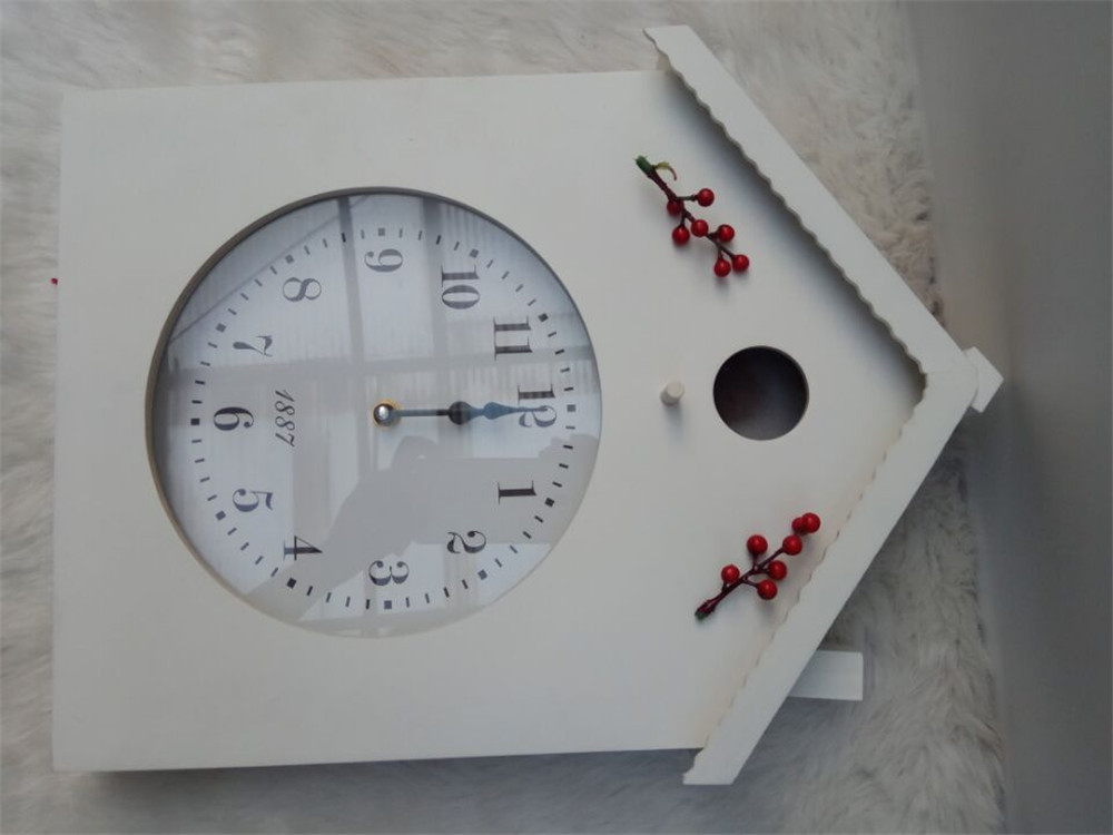 house shape wooden clock