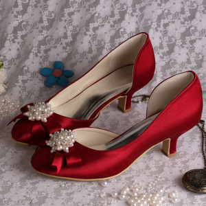 Free sample for for Bridesmaid Shoes Wedopus Low Heel Wedding Prom Shoes Closed Toe export to South Korea Wholesale
