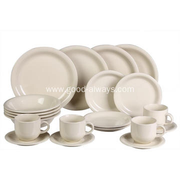 20 Pieces Stoneware Dinnerware Set, Cream Color