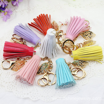 DIY Tassel Keychain Crystal Leaf Leather Tassel For Handbag