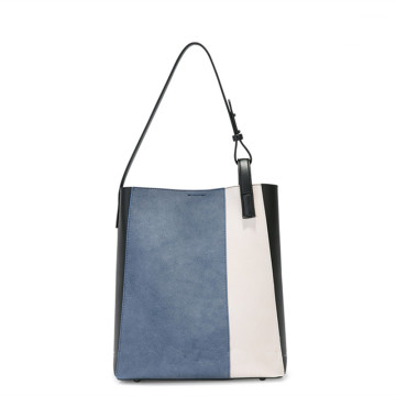 Simple fashion stitching large-capacity shoulder bag