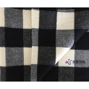 Black and white Plaid 100% Wool Fabric