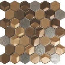 Brown Hexagon Crystal Glass Mosaic Tile