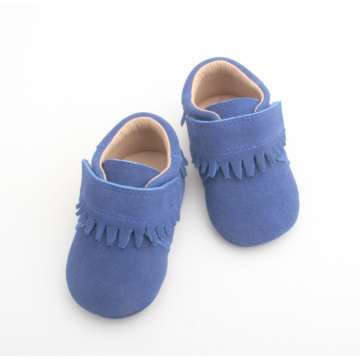 Blue Baby Kids Solid Leather Moccasin