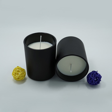 Soy Scented Strong Fragrance Matte Black Glass Jar Candle