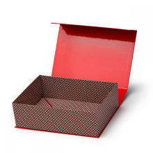 Red Foldable Magnetic Paper Box with Ribbon Closure