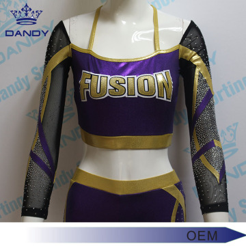 Custom made sparkly rhinestone youth cheerleading uniform