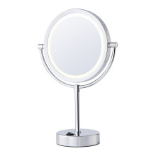 Two-sided battery round table mirror