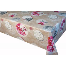 Brown flower table cloth 100% Polyester Tablecloth