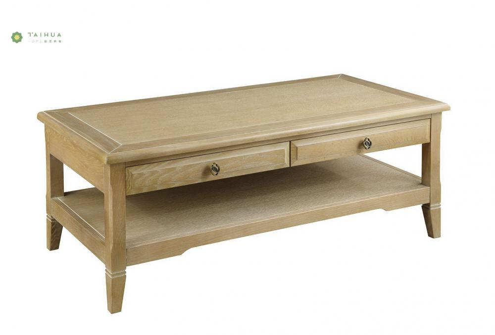 Two Drawers Solid Wood Coffee Table