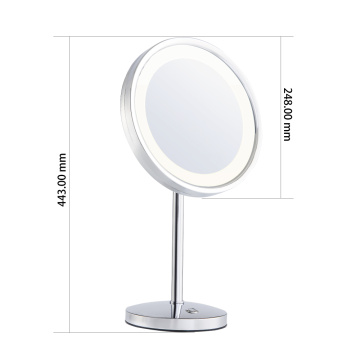 Magnifying round vanity mirror with light
