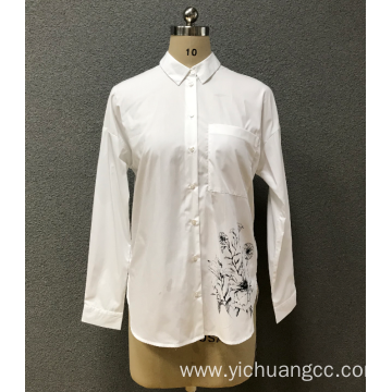 women's white print shirt