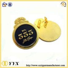 Custom round shape gold plating metal badge