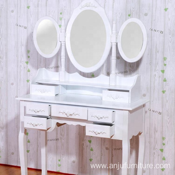 7 Drawers  MDF  Dressing Table Dressing Table Mirror & Padded Stool Set Wooden Vanity 4 Drawers Makeup Dresser Furniture