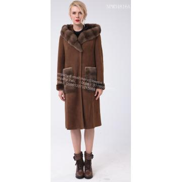 Spain  Merino Shearling Hooded Luxury Coat
