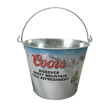 Manufacturer of for Galvanized Ice Bucket Embossed logo Ice Bucket with Portable Handle export to Portugal Importers