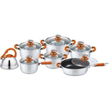 12pcs orange stainless steel cookware set