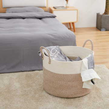 Extra Large Cotton Rope Basket with Long Handles