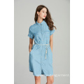 denim tencel short sleeve belt ladies shirt dress