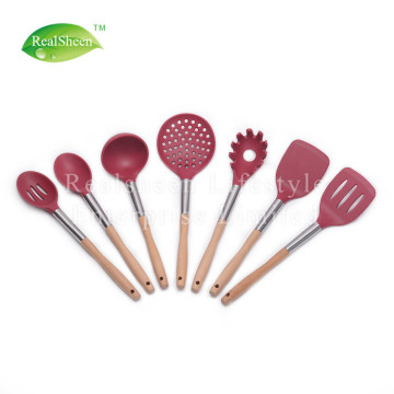 7 Piece Silicone Wooden Kicthen Utensils Set