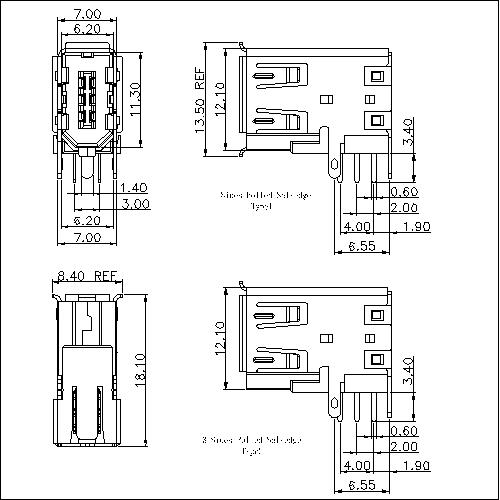 IEFR04-1394 6P Receptacle Angle Side-entry DIP