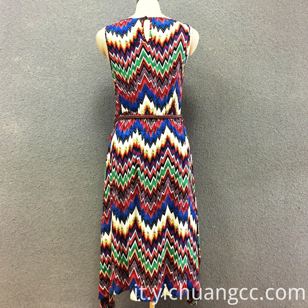 Women's viscose print elastic long dress