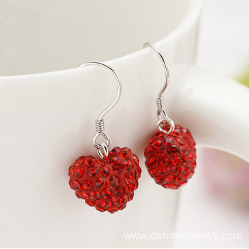 Silver Hoop Earrings For Women Heart Shamballa Beads Earring