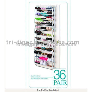 36-pair hanging metal shoe rack on door