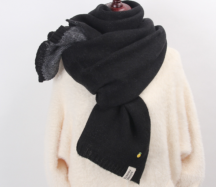 Jacqaurd Shawl Knitting Scarf Black